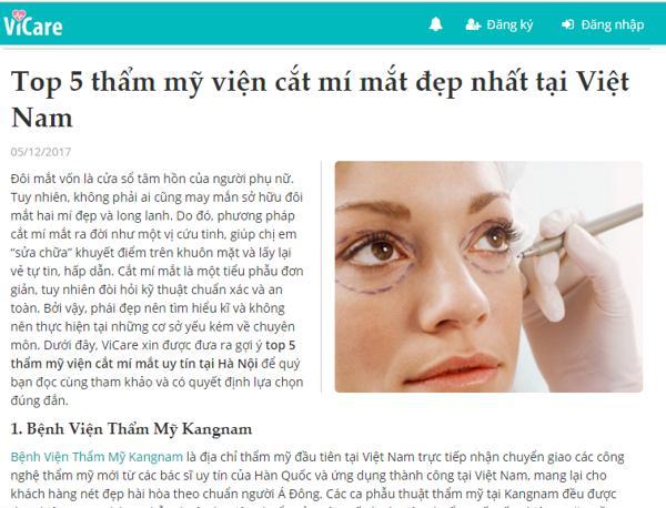 Theo đó, Kangnam đứng số 1 trong top 5 cơ sở cắt mí mắt đẹp nhất tại Việt Nam